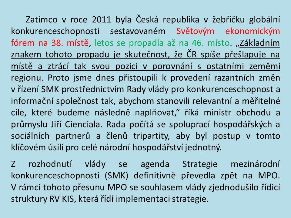 Ministři vlády spolu s premiérem iniciovali razantní změnu ve Strategii konkurenceschopnosti ČR 18. prosince 2013 zasedla nově ustavená Rada vlády pro