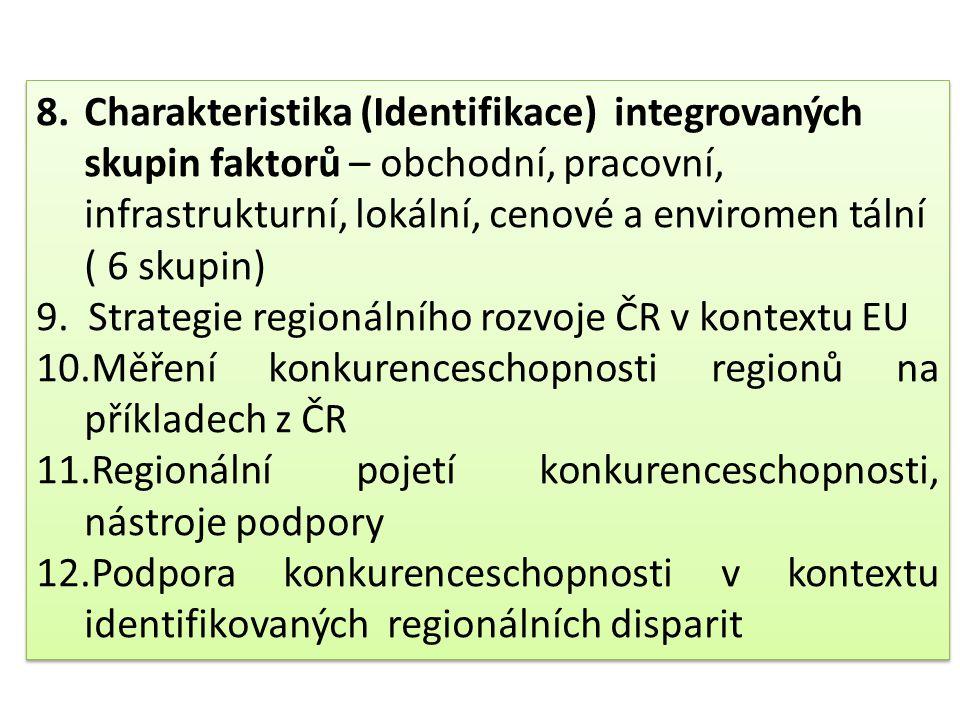 8.Charakteristika (Identifikace) integrovaných skupin faktorů – obchodní, pracovní, infrastrukturní, lokální, cenové a enviromen tální ( 6 skupin) 9.