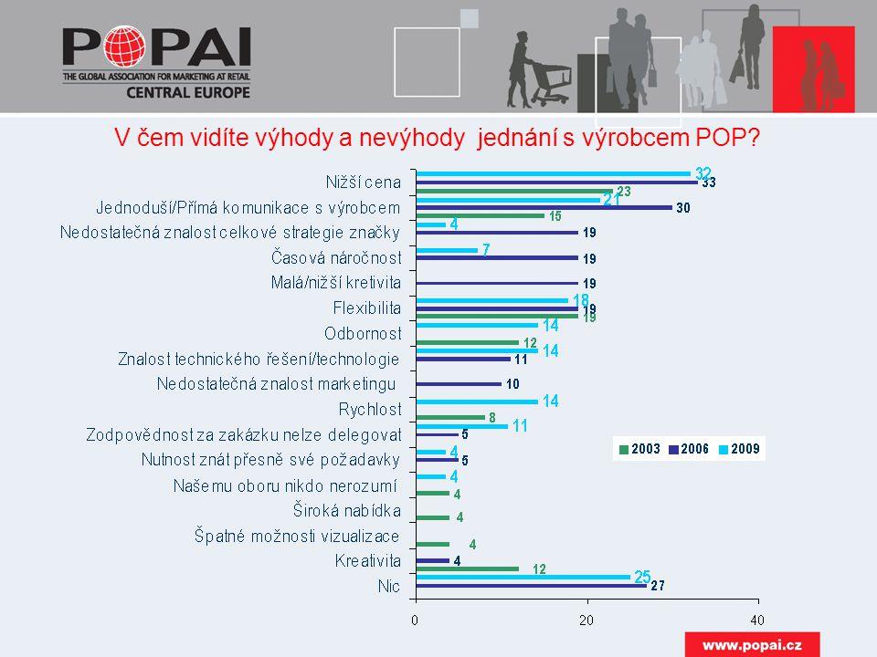 V čem vidíte výhody a nevýhody jednání s výrobcem POP?