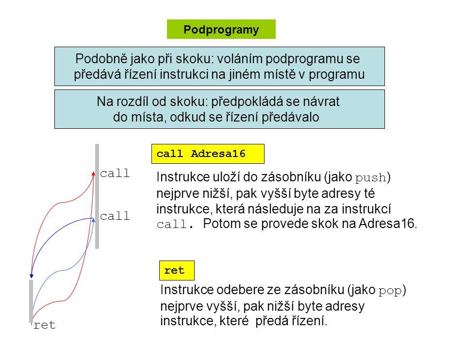 Podprogramy Na rozdíl od skoku: předpokládá se návrat do místa, odkud se řízení předávalo Podobně jako při skoku: voláním podprogramu se předává řízení instrukci na jiném místě v programu call Adresa16 ret Instrukce uloží do zásobníku (jako push ) nejprve nižší, pak vyšší byte adresy té instrukce, která následuje na za instrukcí call.