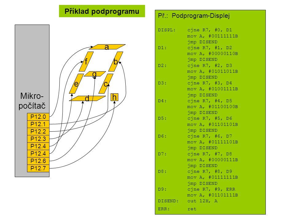 Příklad podprogramu f e b c a g d h Mikro- počítač P12.0 P12.1 P12.2 P12.3 P12.4 P12.6 P12.7 Př.: Podprogram-Displej DISPL:cjne R7, #0, D1 mov A, #00111111B jmp DISEND D1:cjne R7, #1, D2 mov A, #00000110B jmp DISEND D2:cjne R7, #2, D3 mov A, #01011011B jmp DISEND D3:cjne R7, #3, D4 mov A, #01001111B jmp DISEND D4:cjne R7, #4, D5 mov A, #01100100B jmp DISEND D5:cjne R7, #5, D6 mov A, #01101101B jmp DISEND D6:cjne R7, #6, D7 mov A, #01111101B jmp DISEND D7:cjne R7, #7, D8 mov A, #00000111B jmp DISEND D8:cjne R7, #8, D9 mov A, #01111111B jmp DISEND D9:cjne R7, #9, ERR mov A, #01101111B DISEND:out 12H, A ERR:ret