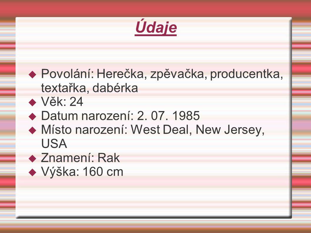 Údaje  Povolání: Herečka, zpěvačka, producentka, textařka, dabérka  Věk: 24  Datum narození: 2.