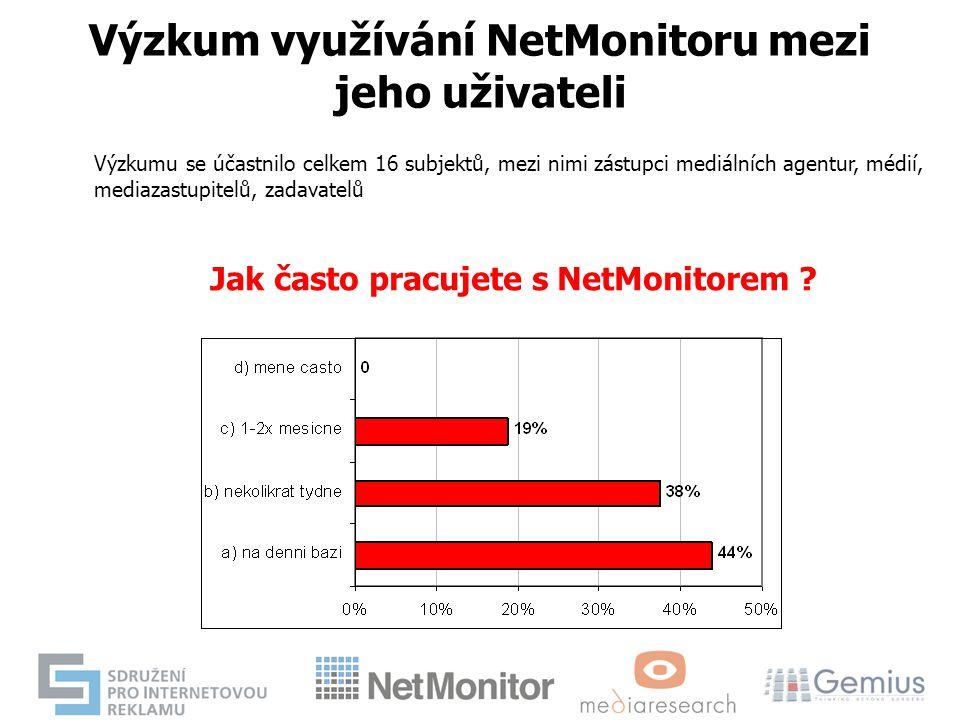 Výzkum využívání NetMonitoru mezi jeho uživateli Výzkumu se účastnilo celkem 16 subjektů, mezi nimi zástupci mediálních agentur, médií, mediazastupite