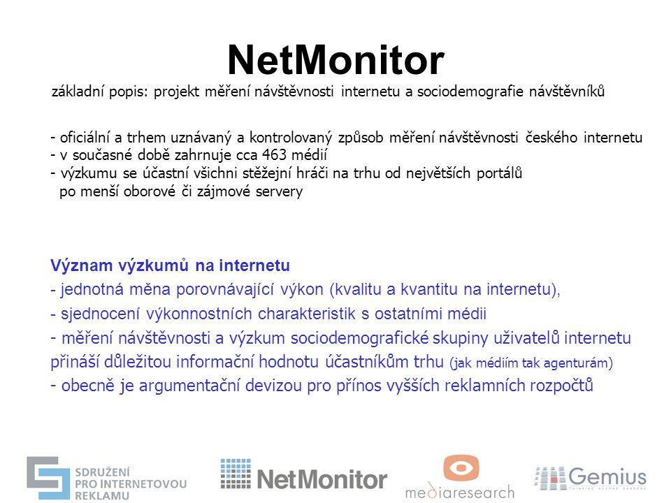 NetMonitor základní popis: projekt měření návštěvnosti internetu a sociodemografie návštěvníků - oficiální a trhem uznávaný a kontrolovaný způsob měře