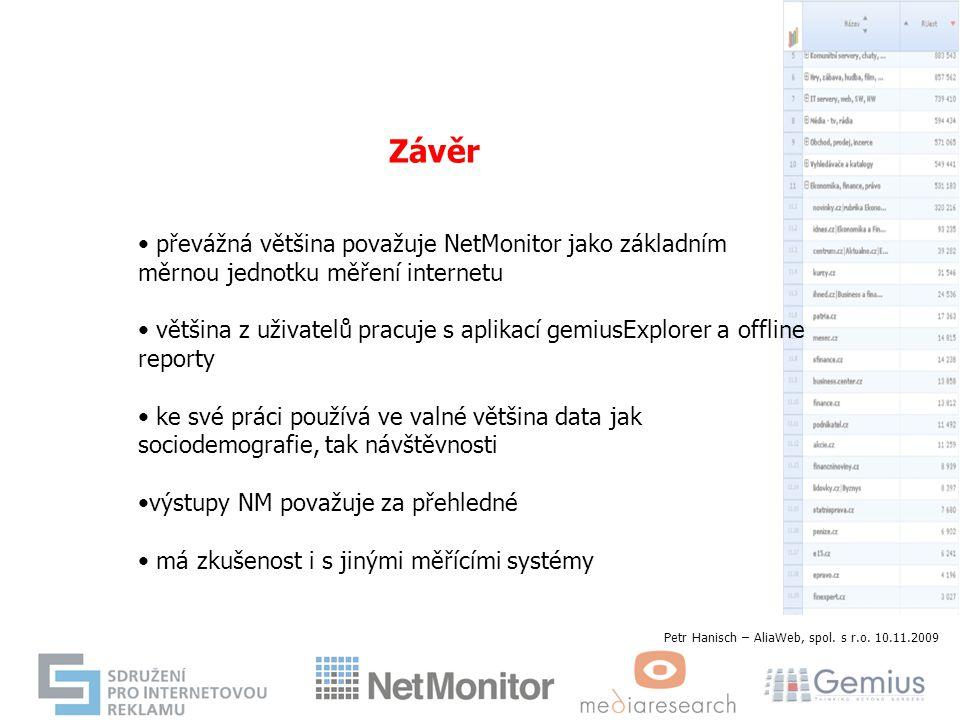 Závěr převážná většina považuje NetMonitor jako základním měrnou jednotku měření internetu většina z uživatelů pracuje s aplikací gemiusExplorer a off