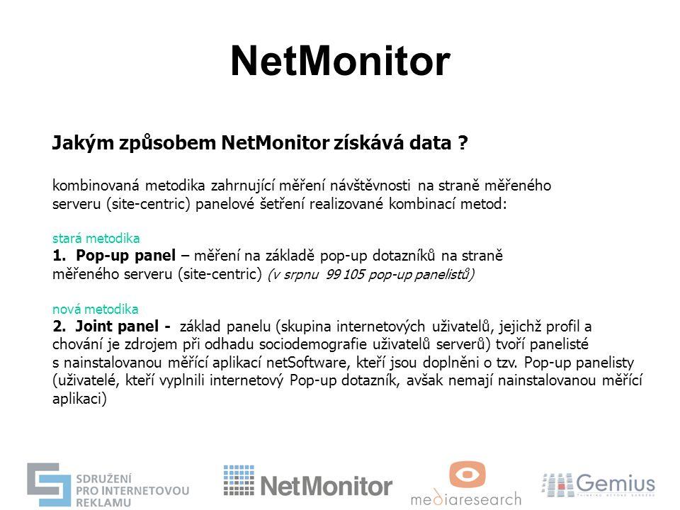 NetMonitor Jakým způsobem NetMonitor získává data ? kombinovaná metodika zahrnující měření návštěvnosti na straně měřeného serveru (site-centric) pane