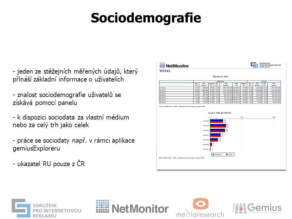 - jeden ze stěžejních měřených údajů, který přináší základní informace o uživatelích - znalost sociodemografie uživatelů se získává pomocí panelu - k