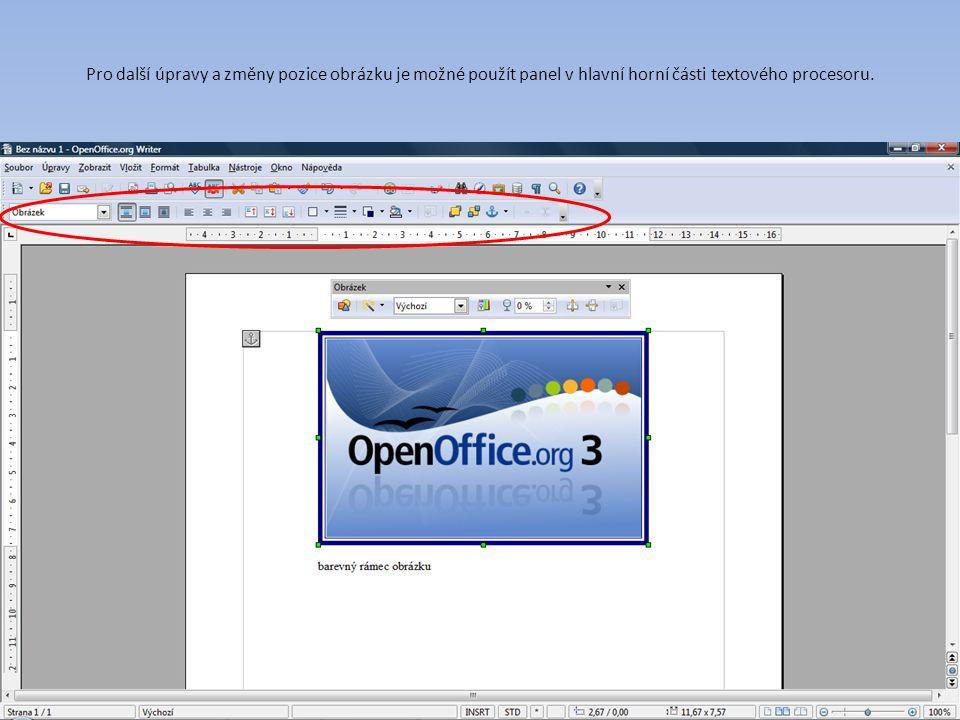 Pro další úpravy a změny pozice obrázku je možné použít panel v hlavní horní části textového procesoru.