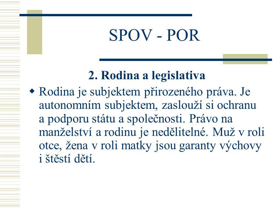 SPOV - POR 2.Rodina a legislativa  Rodina je subjektem přirozeného práva.