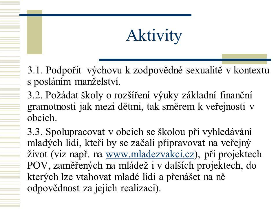 Aktivity 3.1.Podpořit výchovu k zodpovědné sexualitě v kontextu s posláním manželství.