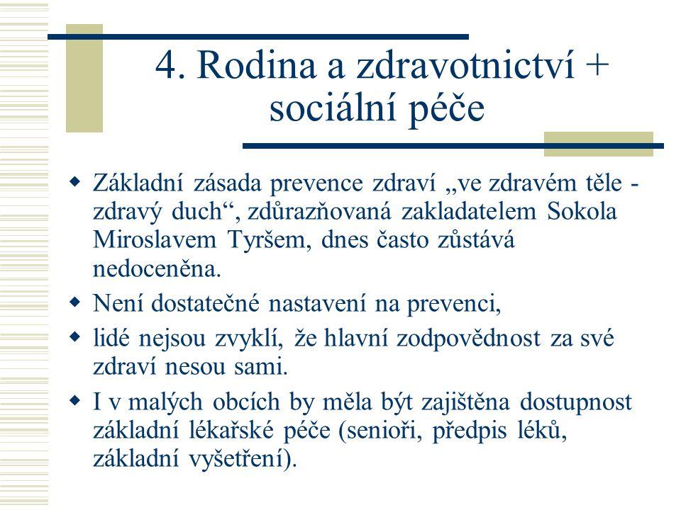 """4. Rodina a zdravotnictví + sociální péče  Základní zásada prevence zdraví """"ve zdravém těle - zdravý duch"""", zdůrazňovaná zakladatelem Sokola Miroslav"""