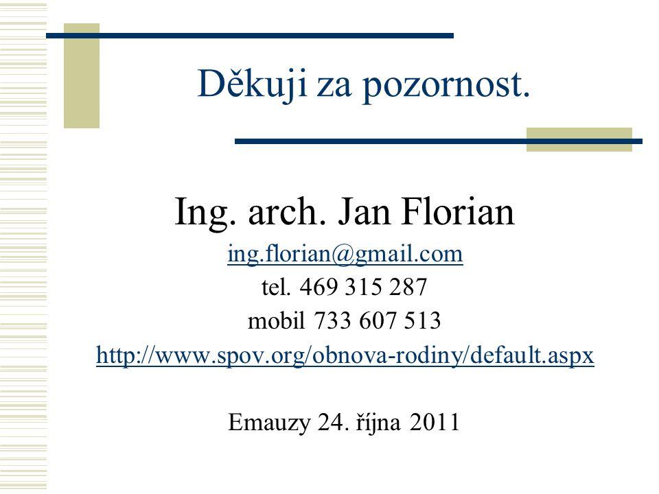 Děkuji za pozornost. Ing. arch. Jan Florian ing.florian@gmail.com tel.