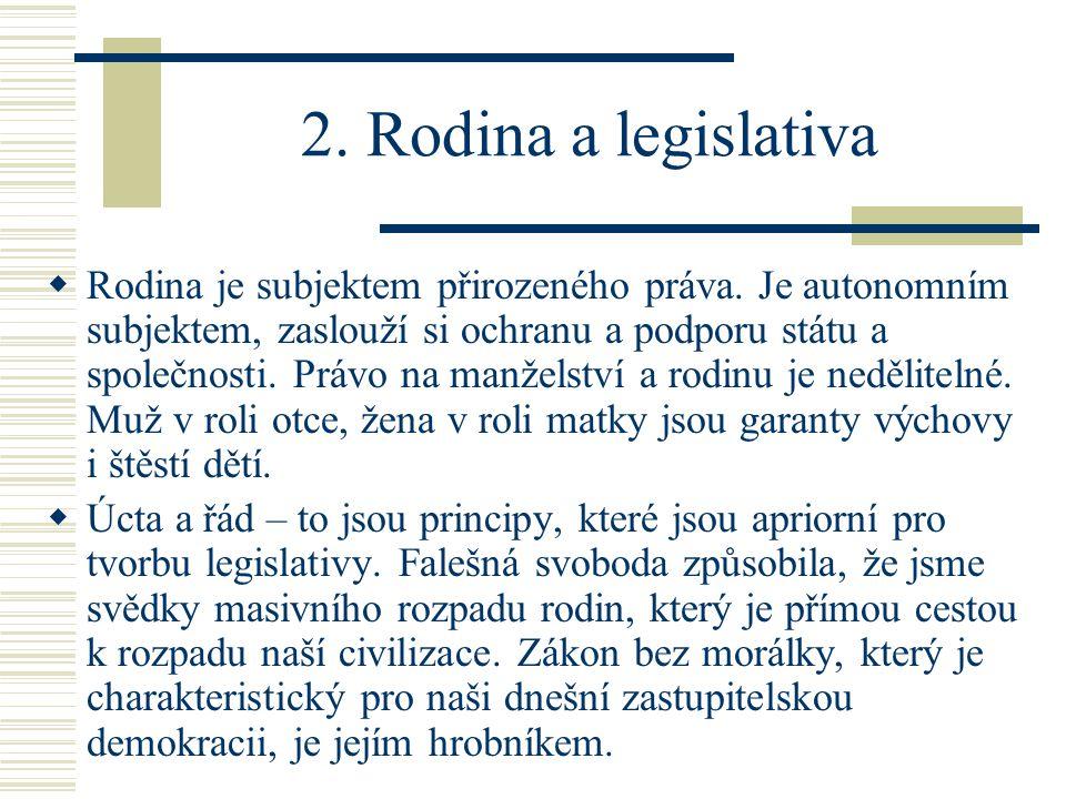 2. Rodina a legislativa  Rodina je subjektem přirozeného práva.