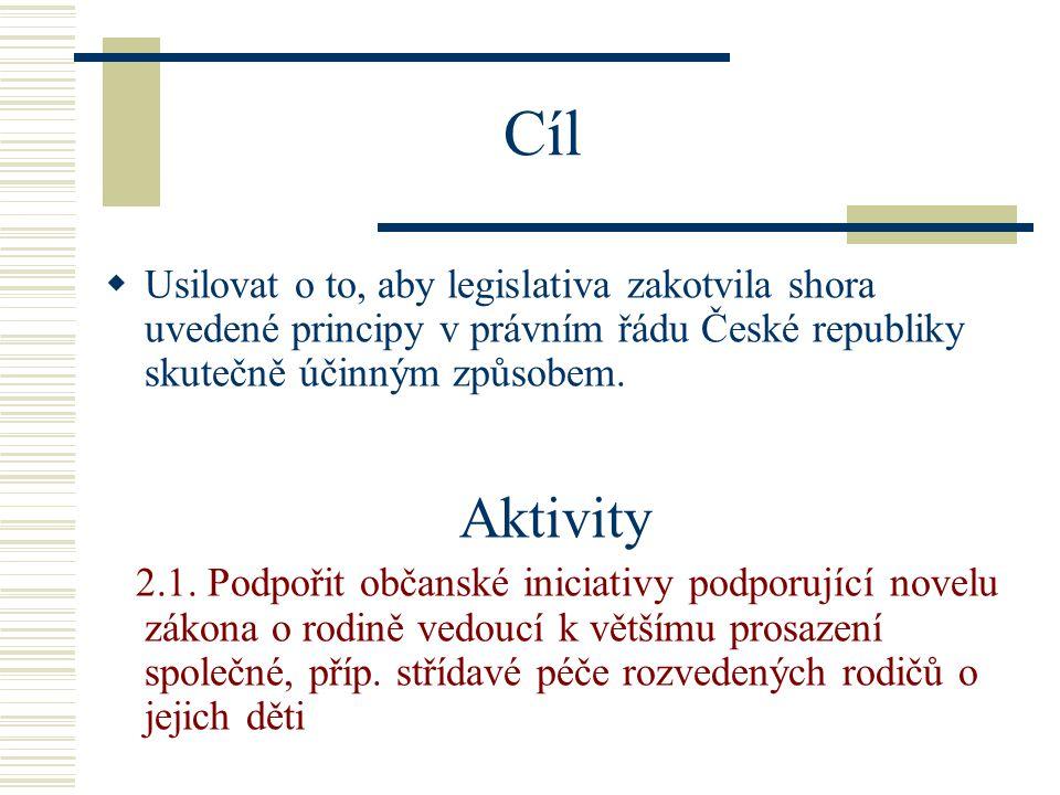 Cíl  Usilovat o to, aby legislativa zakotvila shora uvedené principy v právním řádu České republiky skutečně účinným způsobem.