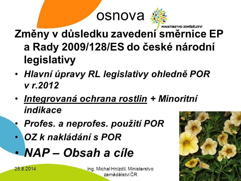 osnova Změny v důsledku zavedení směrnice EP a Rady 2009/128/ES do české národní legislativy Hlavní úpravy RL legislativy ohledně POR v r.2012 Integrovaná ochrana rostlin + Minoritní indikace Profes.