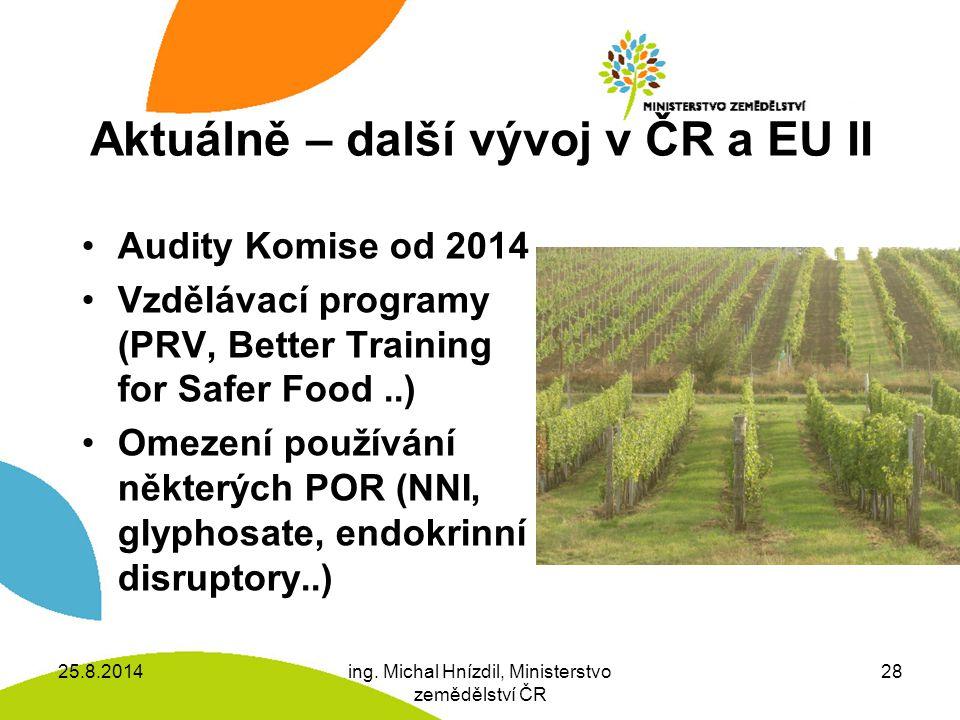 Aktuálně – další vývoj v ČR a EU II Audity Komise od 2014 Vzdělávací programy (PRV, Better Training for Safer Food..) Omezení používání některých POR (NNI, glyphosate, endokrinní disruptory..) 25.8.2014ing.