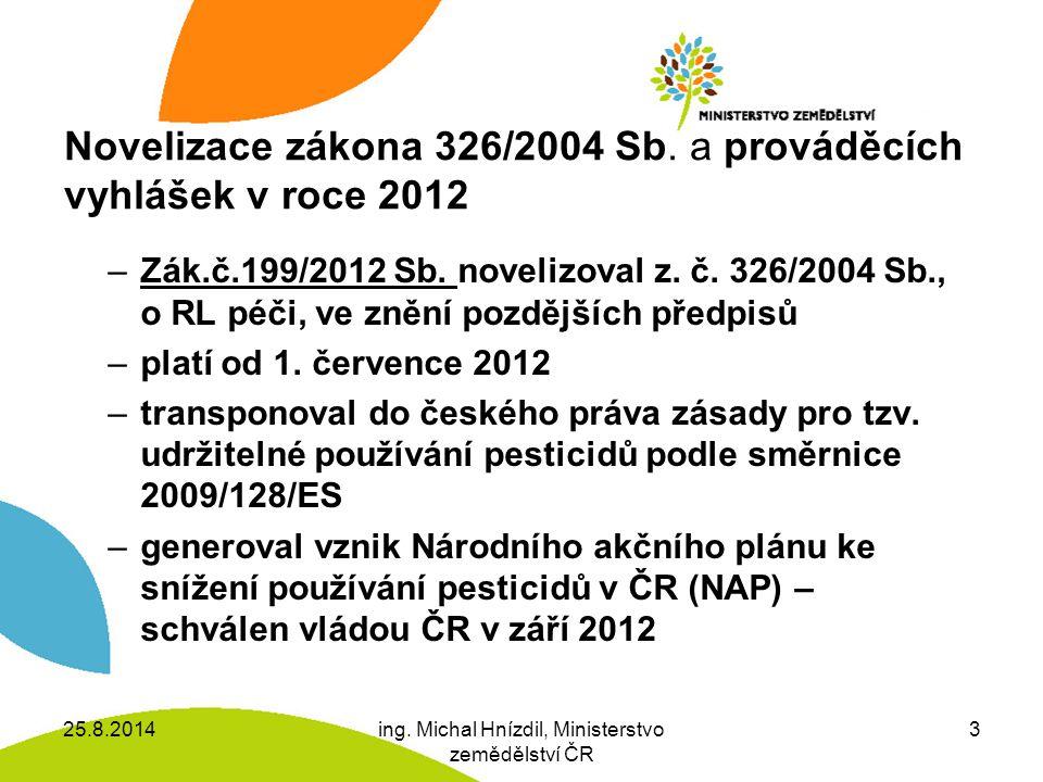Novelizace zákona 326/2004 Sb.a prováděcích vyhlášek v roce 2012 –Zák.č.199/2012 Sb.