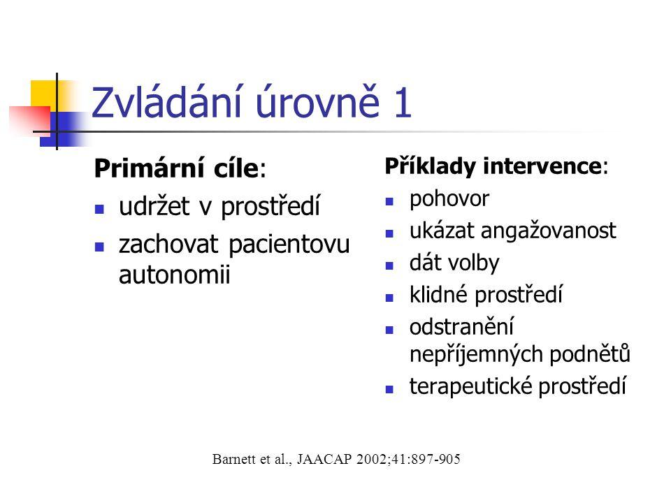 Zvládání úrovně 1 Primární cíle: udržet v prostředí zachovat pacientovu autonomii Příklady intervence: pohovor ukázat angažovanost dát volby klidné pr