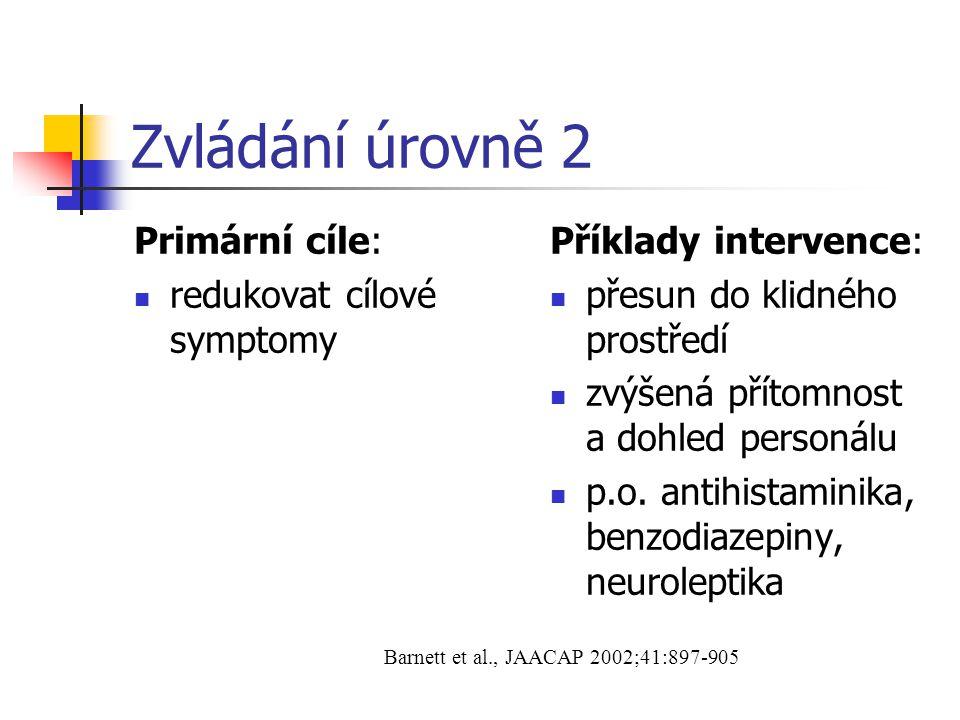 Zvládání úrovně 2 Primární cíle: redukovat cílové symptomy Příklady intervence: přesun do klidného prostředí zvýšená přítomnost a dohled personálu p.o