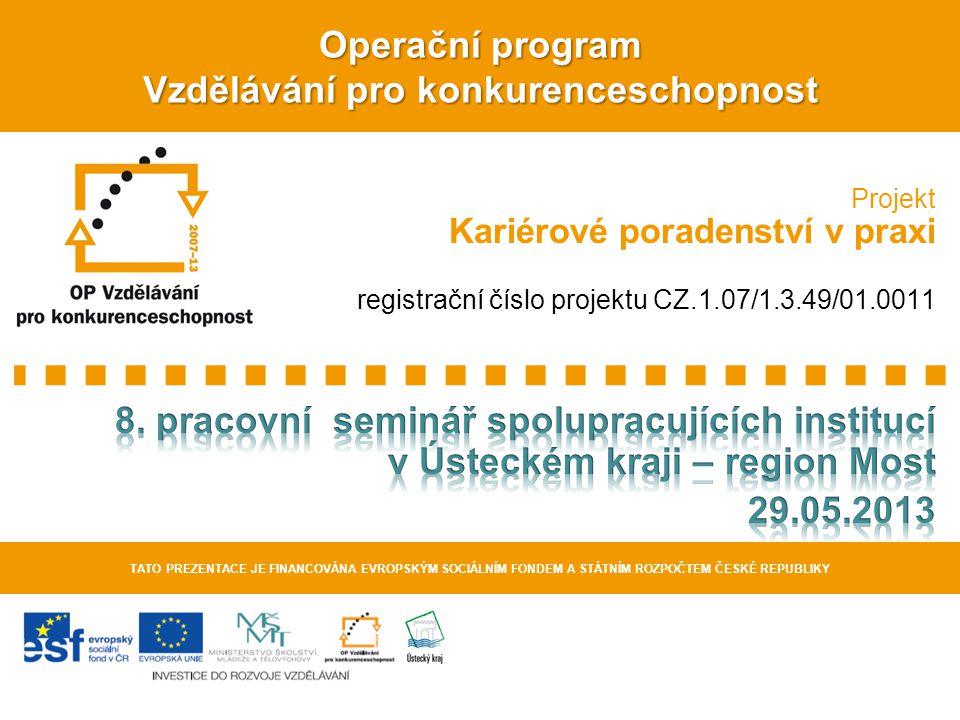 Operační program Vzdělávání pro konkurenceschopnost TATO PREZENTACE JE FINANCOVÁNA EVROPSKÝM SOCIÁLNÍM FONDEM A STÁTNÍM ROZPOČTEM ČESKÉ REPUBLIKY