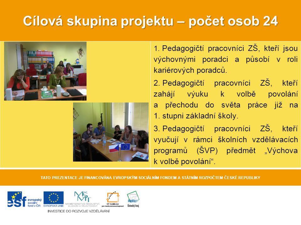 Cílová skupina projektu – počet osob 24 TATO PREZENTACE JE FINANCOVÁNA EVROPSKÝM SOCIÁLNÍM FONDEM A STÁTNÍM ROZPOČTEM ČESKÉ REPUBLIKY 1. Pedagogičtí p