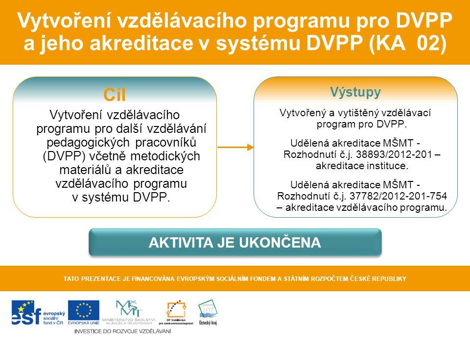 Vytvoření vzdělávacího programu pro DVPP a jeho akreditace v systému DVPP (KA 02) TATO PREZENTACE JE FINANCOVÁNA EVROPSKÝM SOCIÁLNÍM FONDEM A STÁTNÍM