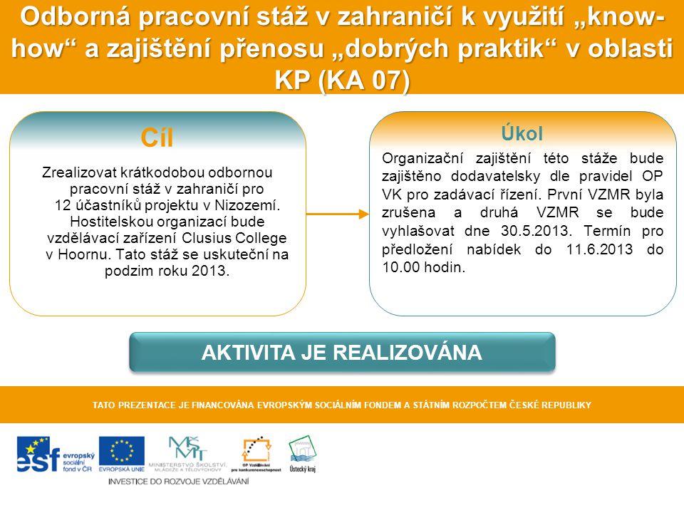 """Odborná pracovní stáž v zahraničí k využití """"know- how"""" a zajištění přenosu """"dobrých praktik"""" v oblasti KP (KA 07) TATO PREZENTACE JE FINANCOVÁNA EVRO"""