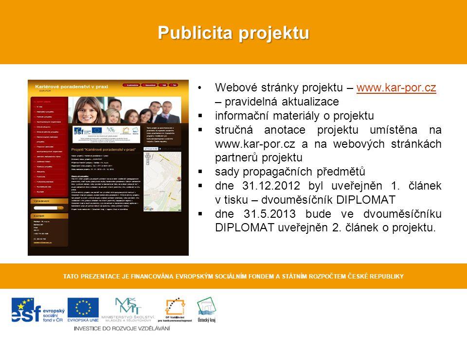 Publicita projektu TATO PREZENTACE JE FINANCOVÁNA EVROPSKÝM SOCIÁLNÍM FONDEM A STÁTNÍM ROZPOČTEM ČESKÉ REPUBLIKY Webové stránky projektu – www.kar-por