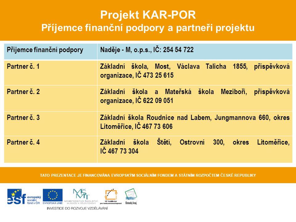 Projekt KAR-POR Příjemce finanční podpory a partneři projektu TATO PREZENTACE JE FINANCOVÁNA EVROPSKÝM SOCIÁLNÍM FONDEM A STÁTNÍM ROZPOČTEM ČESKÉ REPU