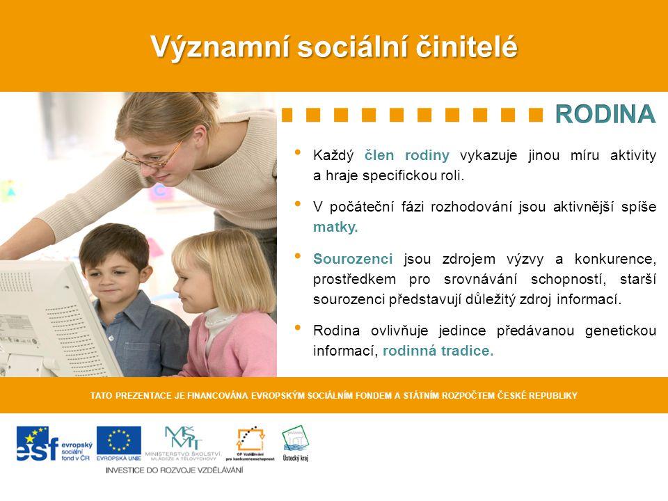 Významní sociální činitelé TATO PREZENTACE JE FINANCOVÁNA EVROPSKÝM SOCIÁLNÍM FONDEM A STÁTNÍM ROZPOČTEM ČESKÉ REPUBLIKY Socioekonomický status rodiny >Vyšší – při výběru dalšího vzdělávání bývají rodiče zpravidla aktivnější.