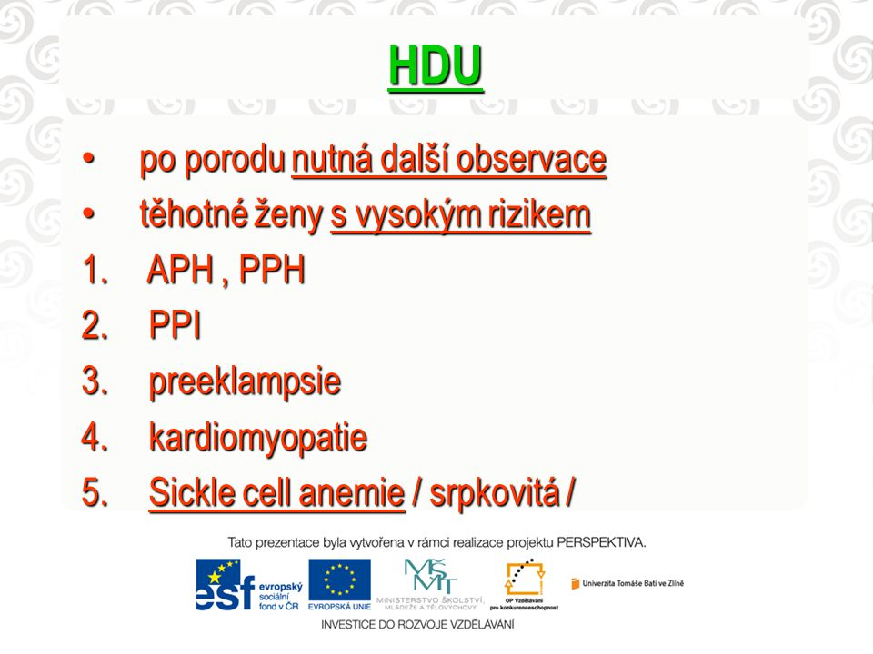HDU po porodu nutná další observace po porodu nutná další observace těhotné ženy s vysokým rizikem těhotné ženy s vysokým rizikem 1. APH, PPH 2. PPI 3