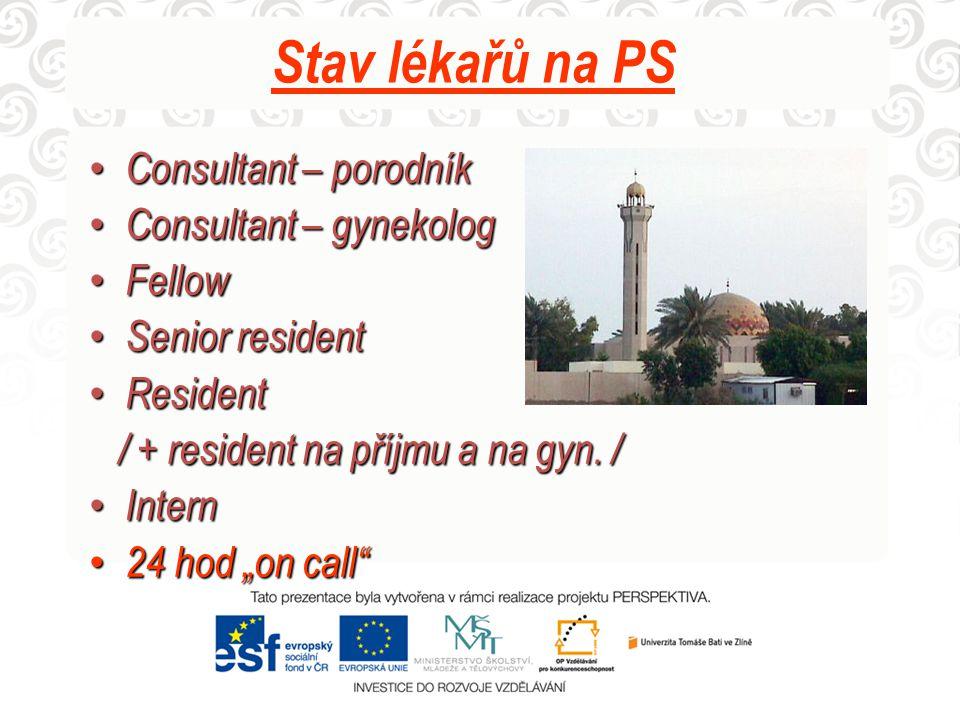 Stav lékařů na PS Consultant – porodník Consultant – porodník Consultant – gynekolog Consultant – gynekolog Fellow Fellow Senior resident Senior resid