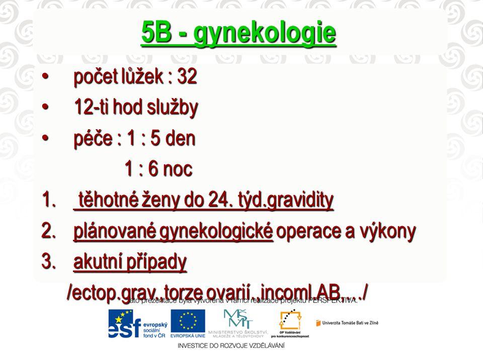 5B - gynekologie počet lůžek : 32 počet lůžek : 32 12-ti hod služby 12-ti hod služby péče : 1 : 5 den péče : 1 : 5 den 1 : 6 noc 1 : 6 noc 1. těhotné
