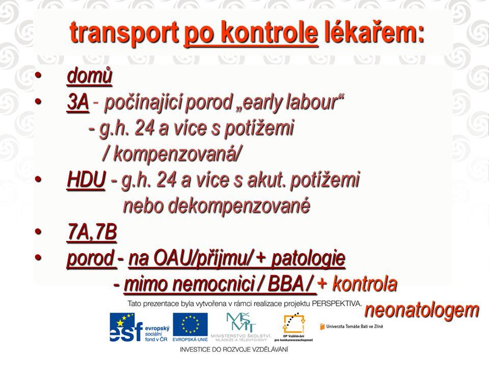 """transport po kontrole lékařem: domů domů 3Apočínající porod """"early labour"""" 3A - počínající porod """"early labour"""" - g.h. 24 a více s potížemi - g.h. 24"""