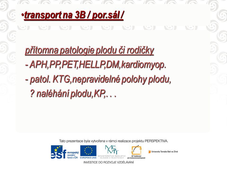 transport na 3B / por.sál / transport na 3B / por.sál / přítomna patologie plodu či rodičky - APH,PP,PET,HELLP,DM,kardiomyop. - APH,PP,PET,HELLP,DM,ka