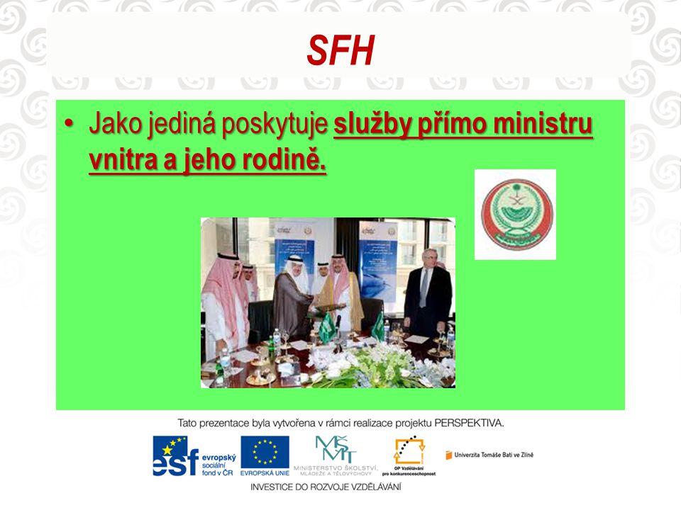 SFH Jako jediná poskytuje služby přímo ministru vnitra a jeho rodině. Jako jediná poskytuje služby přímo ministru vnitra a jeho rodině.
