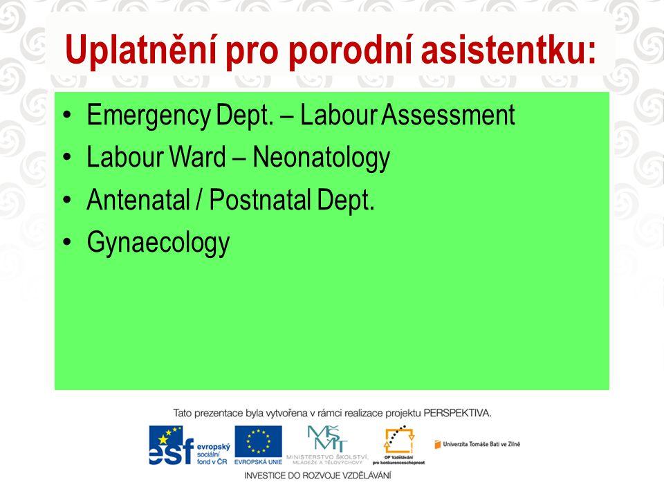 Uplatnění pro porodní asistentku: Emergency Dept. – Labour Assessment Labour Ward – Neonatology Antenatal / Postnatal Dept. Gynaecology
