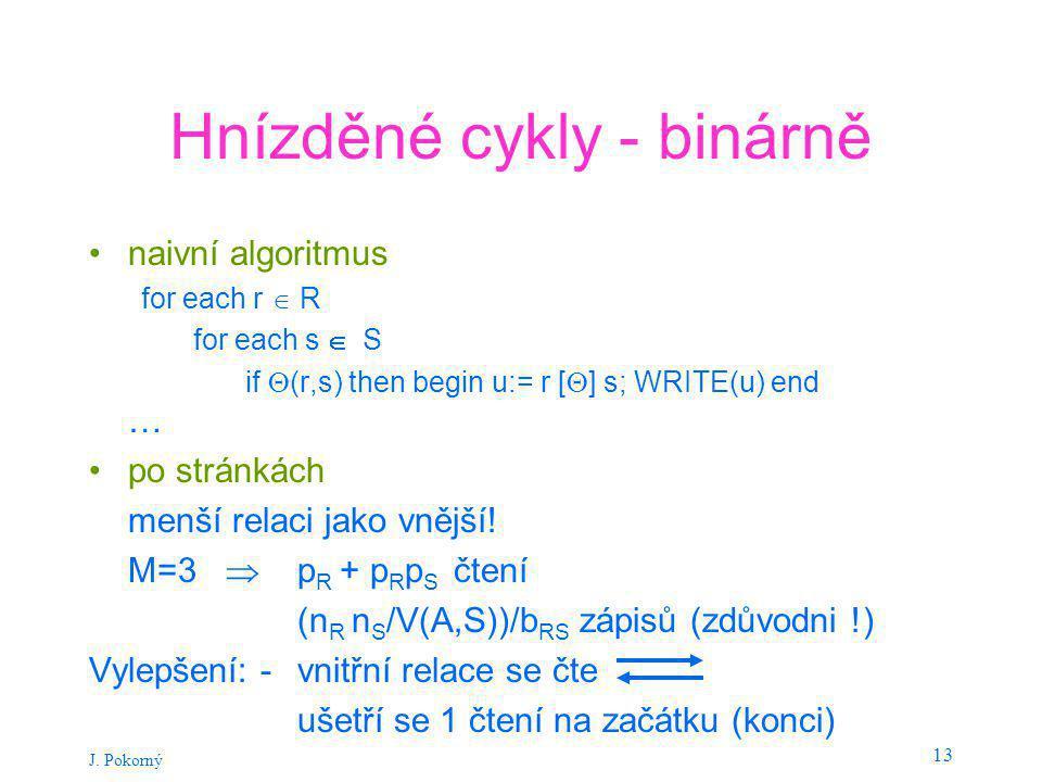 J. Pokorný 13 Hnízděné cykly - binárně naivní algoritmus for each r  R for each s  S if  (r,s) then begin u:= r [  ] s; WRITE(u) end … po stránkác
