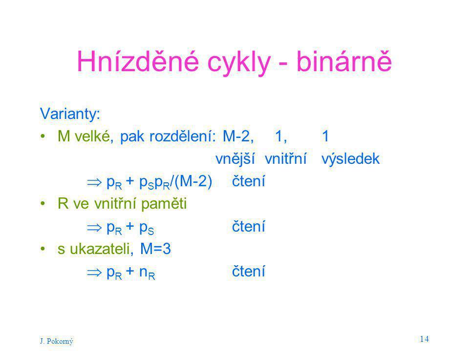 J. Pokorný 14 Hnízděné cykly - binárně Varianty: M velké, pak rozdělení: M-2, 1, 1 vnější vnitřnívýsledek  p R + p S p R /(M-2) čtení R ve vnitřní pa