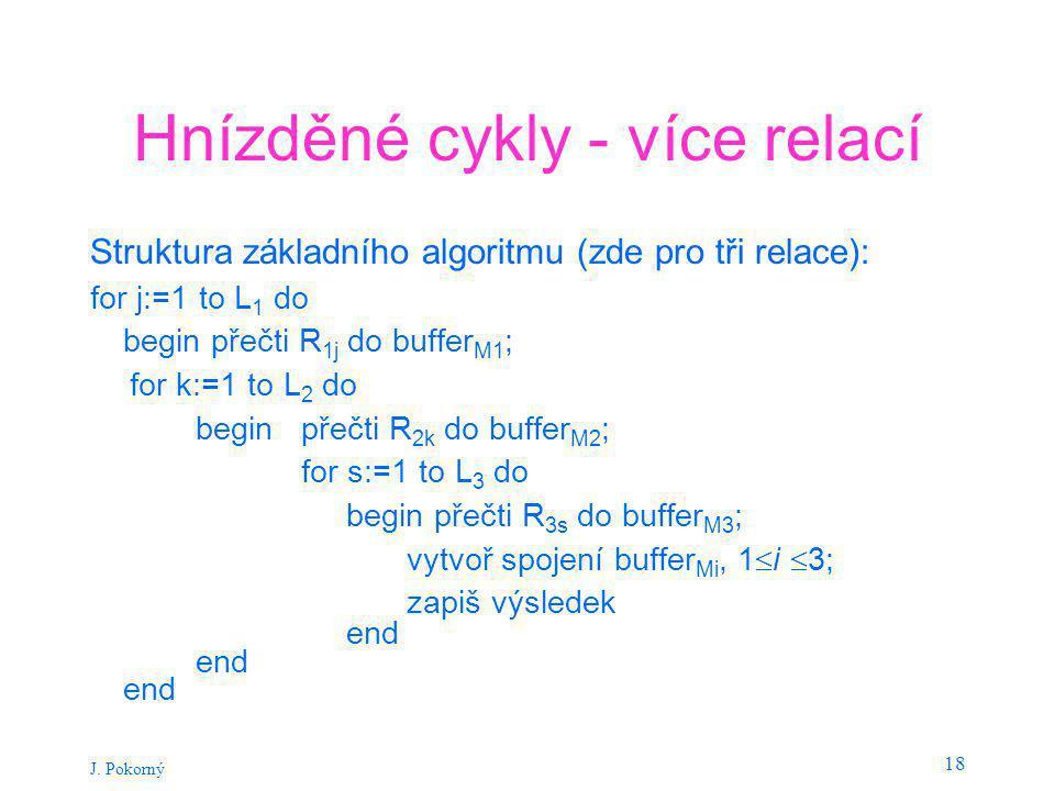 J. Pokorný 18 Hnízděné cykly - více relací Struktura základního algoritmu (zde pro tři relace): for j:=1 to L 1 do begin přečti R 1j do buffer M1 ; fo