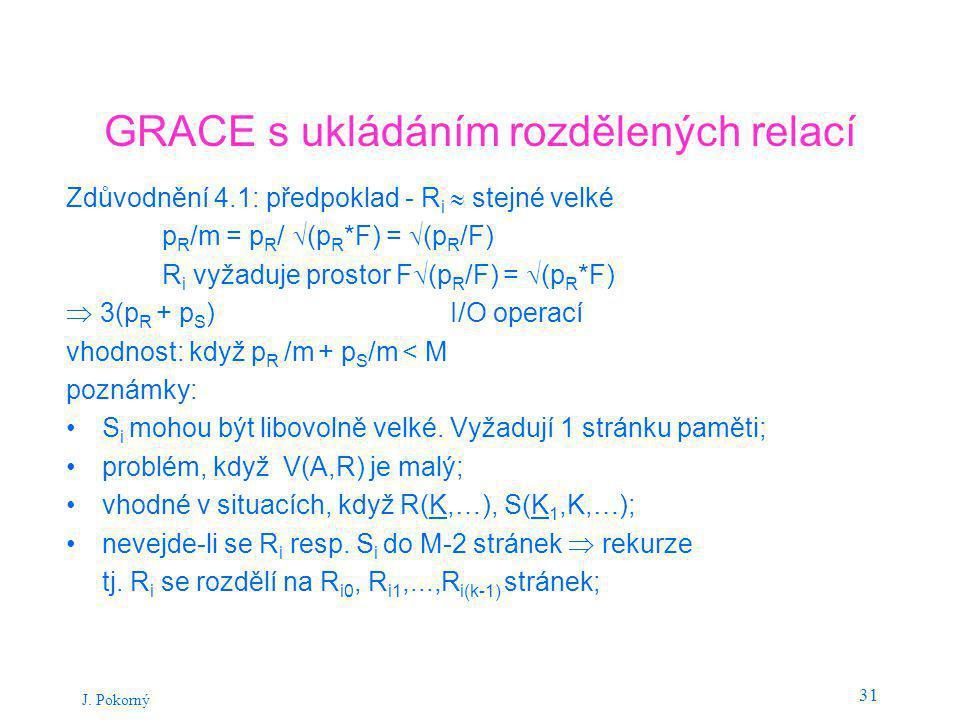 J. Pokorný 31 GRACE s ukládáním rozdělených relací Zdůvodnění 4.1: předpoklad - R i  stejné velké p R /m = p R /  (p R *F) =  (p R /F) R i vyžaduje