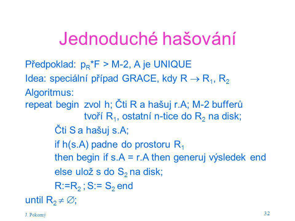 J. Pokorný 32 Jednoduché hašování Předpoklad: p R *F > M-2, A je UNIQUE Idea: speciální případ GRACE, kdy R  R 1, R 2 Algoritmus: repeat begin zvol h