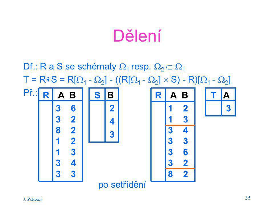 J.Pokorný 35 Dělení Df.: R a S se schématy  1 resp.