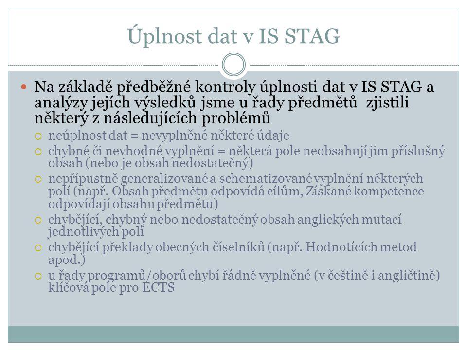 Postup řešení do konce roku 2013 V souvislosti s kontrolou a nápravou obsahů v IS STAG je třeba nastavit harmonogram prací takto:  do 15.