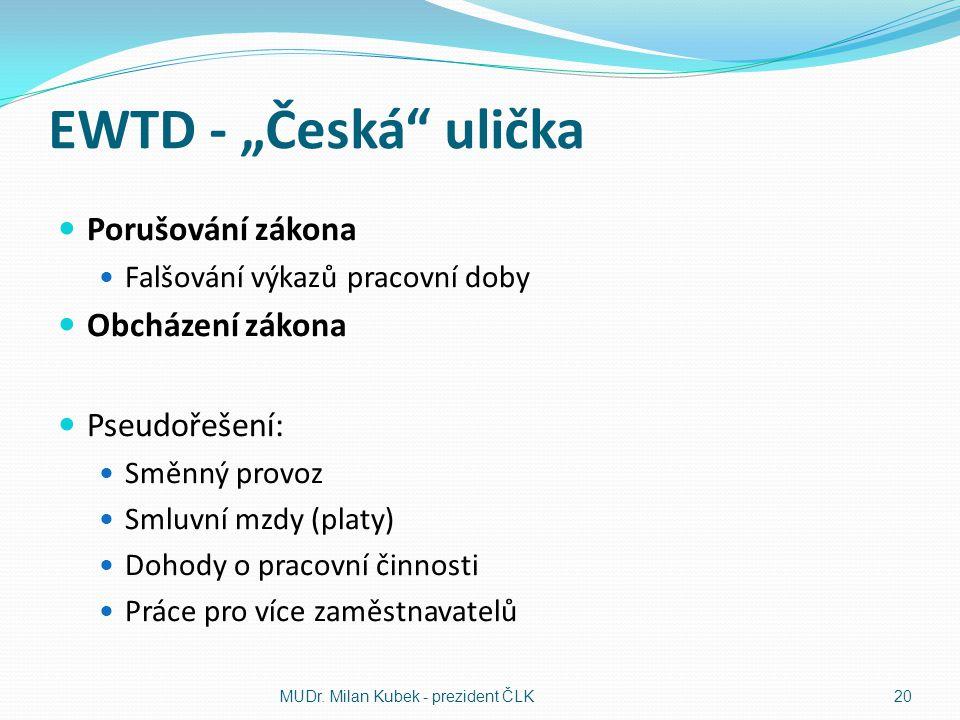 """EWTD - """"Česká"""" ulička Porušování zákona Falšování výkazů pracovní doby Obcházení zákona Pseudořešení: Směnný provoz Smluvní mzdy (platy) Dohody o prac"""
