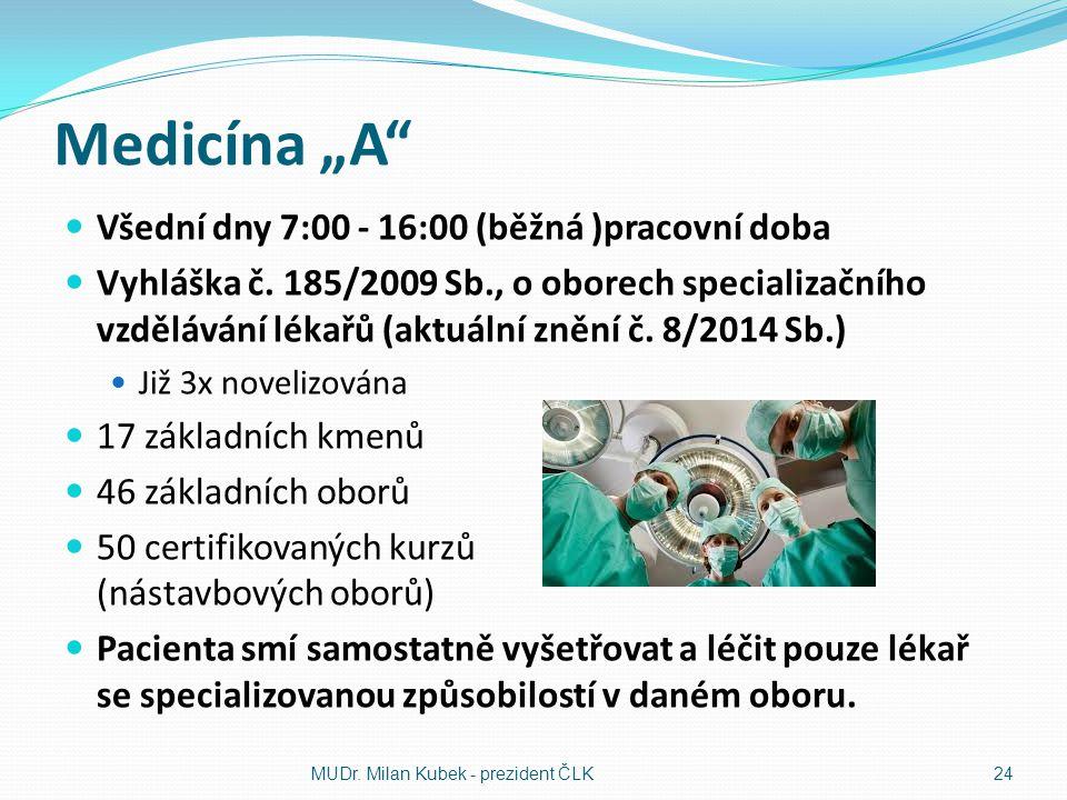 """Medicína """"A"""" Všední dny 7:00 - 16:00 (běžná )pracovní doba Vyhláška č. 185/2009 Sb., o oborech specializačního vzdělávání lékařů (aktuální znění č. 8/"""