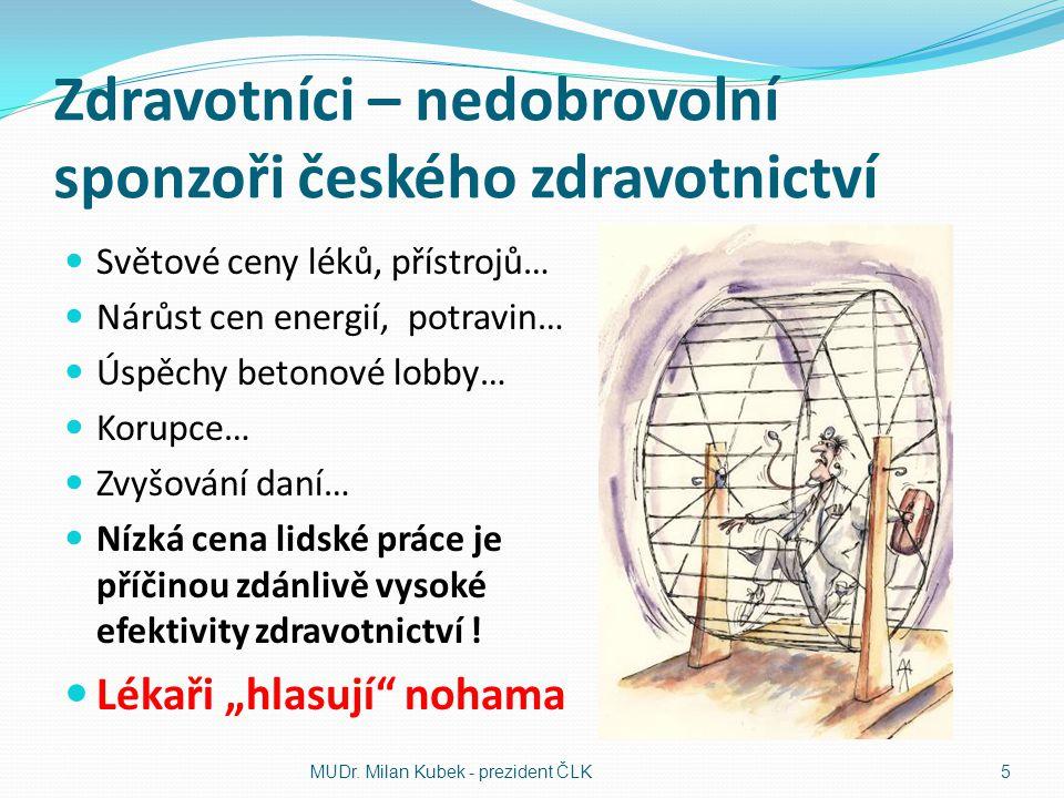 Zdravotníci – nedobrovolní sponzoři českého zdravotnictví Světové ceny léků, přístrojů… Nárůst cen energií, potravin… Úspěchy betonové lobby… Korupce…