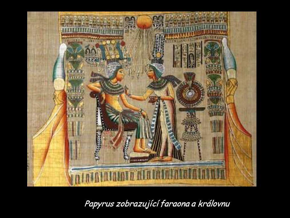 Papyrus zobrazující faraona a královnu