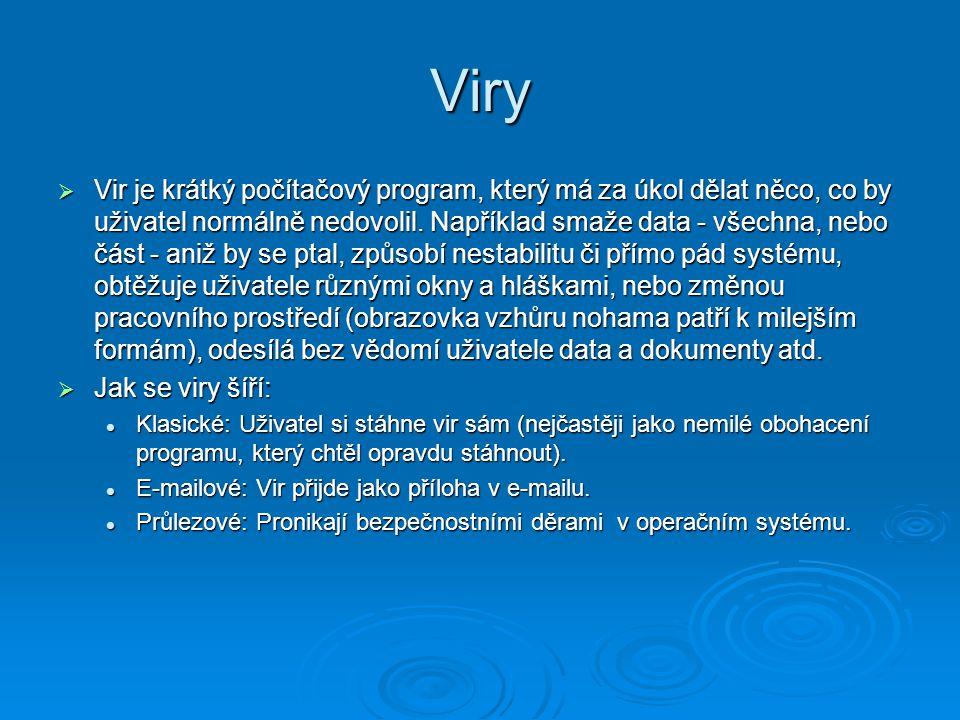 Viry  Vir je krátký počítačový program, který má za úkol dělat něco, co by uživatel normálně nedovolil. Například smaže data - všechna, nebo část - a