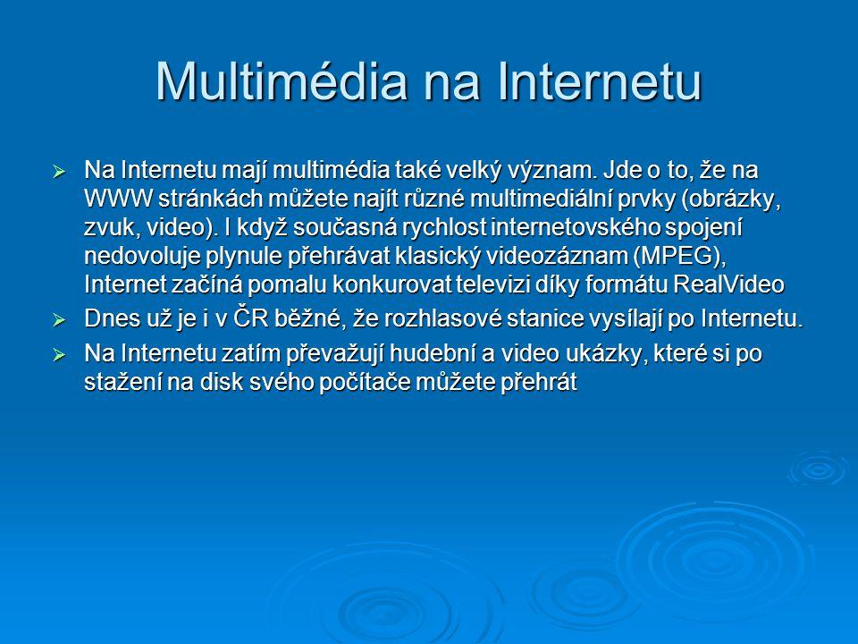 Multimédia na Internetu  Na Internetu mají multimédia také velký význam. Jde o to, že na WWW stránkách můžete najít různé multimediální prvky (obrázk